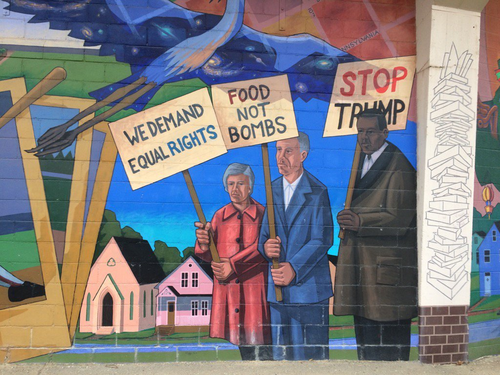A Lawrence mural has been changed to include an anti-Donald Trump message. (Natalie Davis/KCTV5 News)