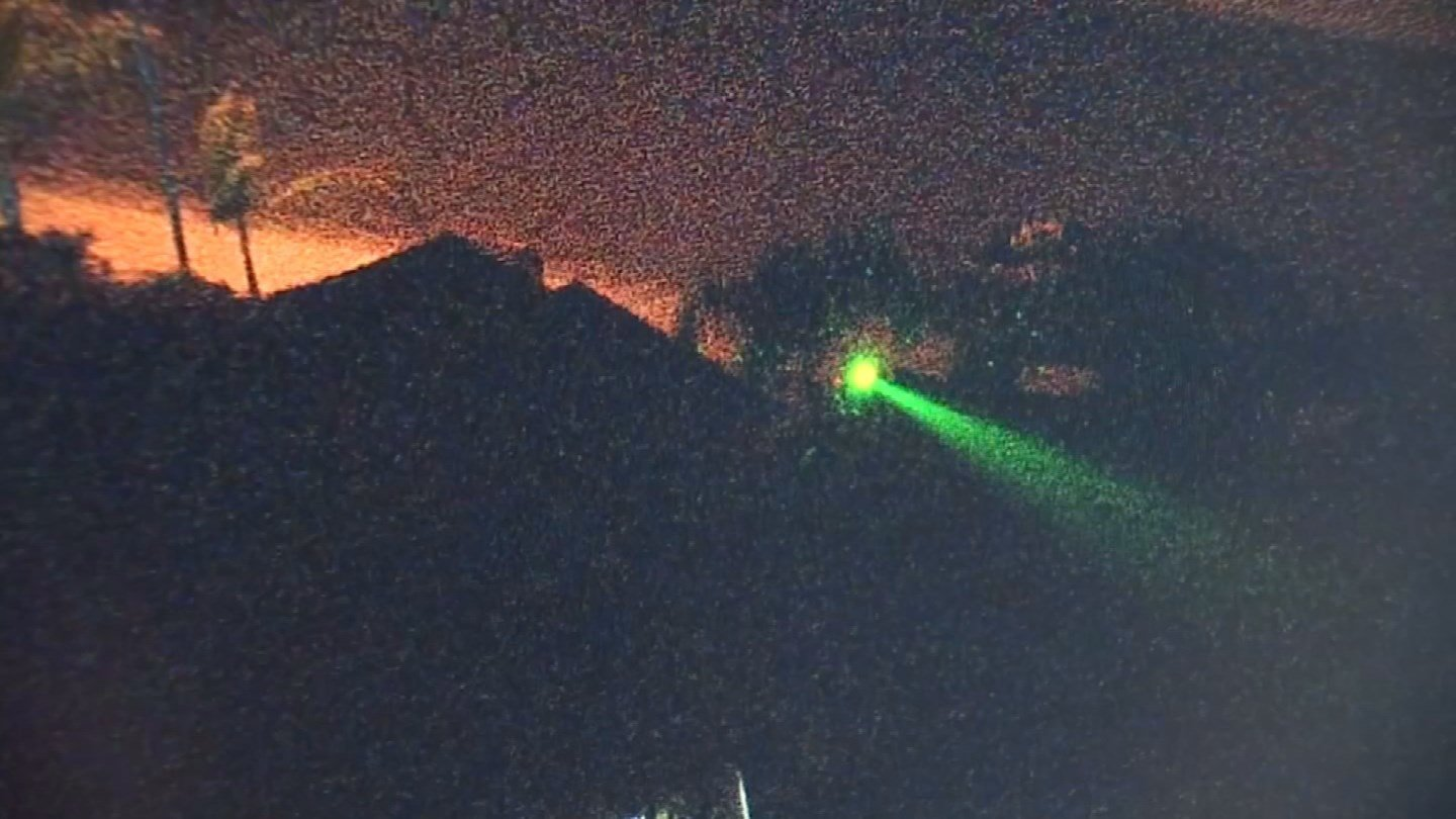 Christmas laser lights can be much more bright when shining in pilots' eyes than you would think. (KCTV)