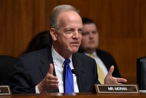 FILE - In this March 8, 2016, file photo, Sen. Jerry Moran, R-Kan., asks a question of Treasury Secretary Jacob Lew, on Capitol Hill in Washington, Tuesday, March 8, 2016. (AP Photo/Susan Walsh, File)