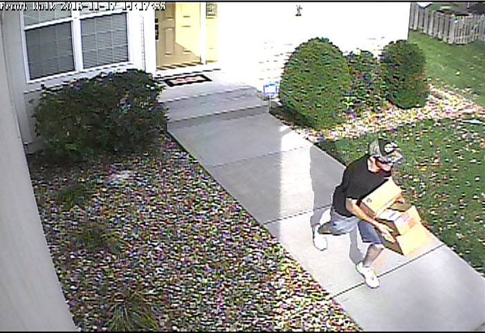 The Lenexa Police Department is looking for an individual who stole packages from a front porch on the 15200 block of West 93rd Street.(Lenexa Police)