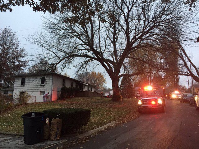 Authorities say a neighbor sawfire and smoke and called 911 about 6:40 a.m. to the 12700 block of Erickson Road. (Nate Nottage-Tacey/KCTV5)