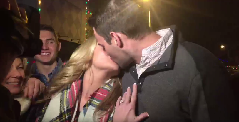 Eric Robinson proposed to his girlfriend Alisabeth Schlager at the Plaza Lighting Ceremony. She said yes. (KCTV5)