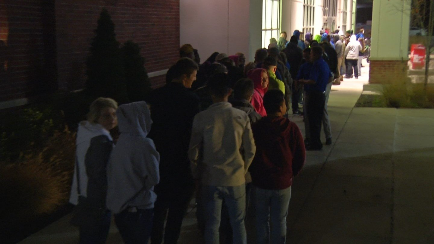 The scene outside a local Academy Sports store this morning. (KCTV)