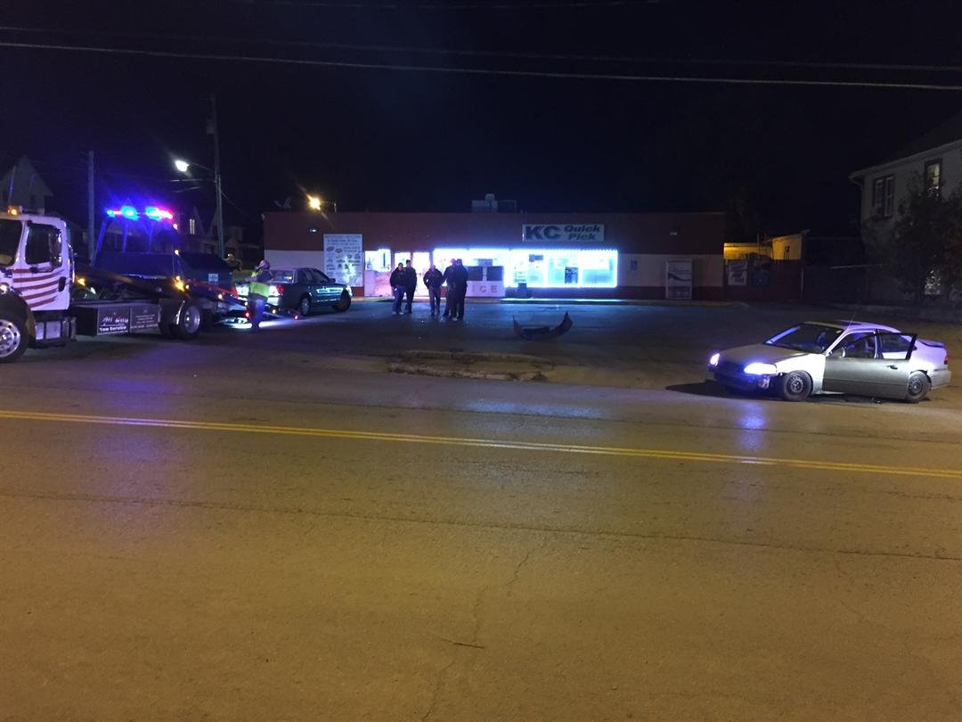 A KCK police officer's car was struck at N. 10th St. and Orville Ave. (Grady Reid/KCTV5)