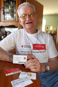 Harold Walters, 87, made his first donationin 1955, when he was 26. He plans to donate his 296th pint at the Hutchinson Community Blood Drive on Monday. (Travis Morisse/The Hutchinson News)
