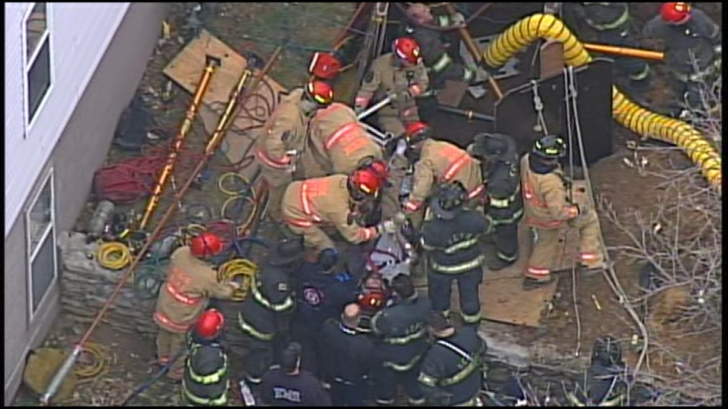 Firefighters rescued a contractor trapped following a trench collapse on Wednesday. (KCTV5)