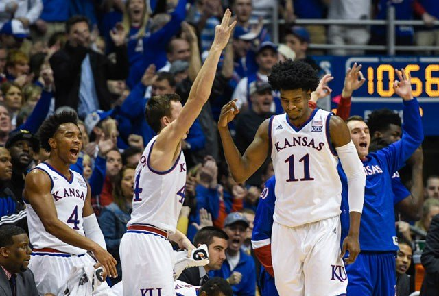 Kansas Jayhawks guard Josh Jackson (11) is congratulated after hitting a three-pointer against the Baylor Bears during the second half of an NCAA college basketball game in Lawrence, Kan., Wednesday, Feb. 1, 2017. (AP Photo/Reed Hoffmann)