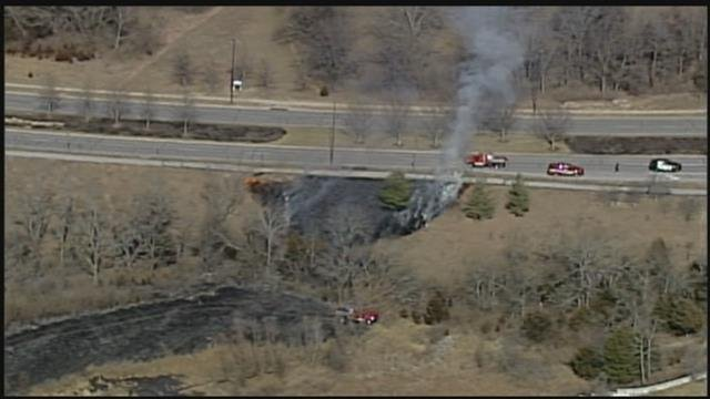 A view of the fire from Chopper 5. (KCTV)