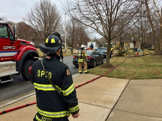 The leak was reported about 11:30 a.m. near 147th Place and Outlook Street. (Overland Park Fire)
