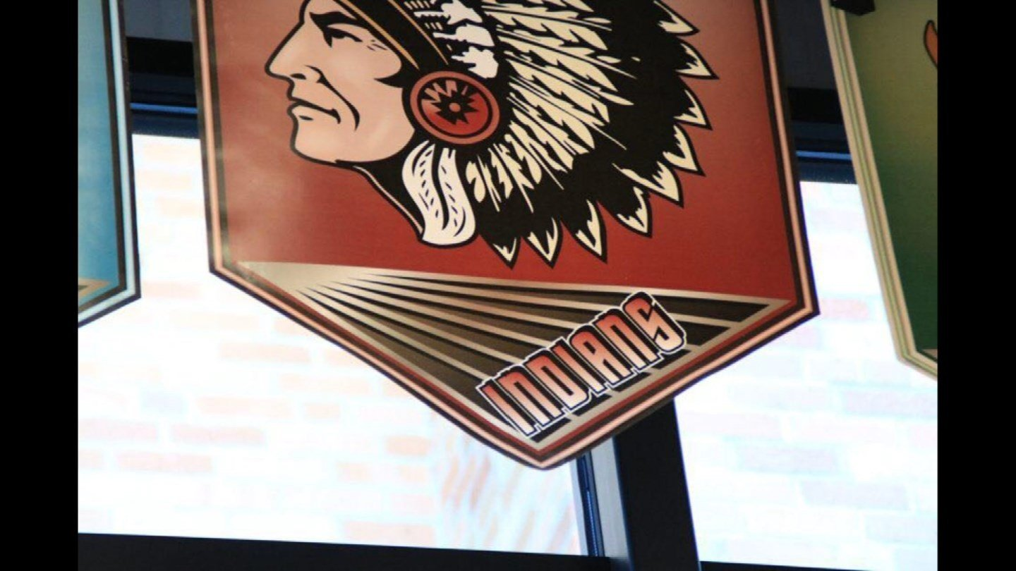 Some Native American students objected to the portrayal of a chief on the banner representing Shawnee Mission North. (Lawrence High School Budget)
