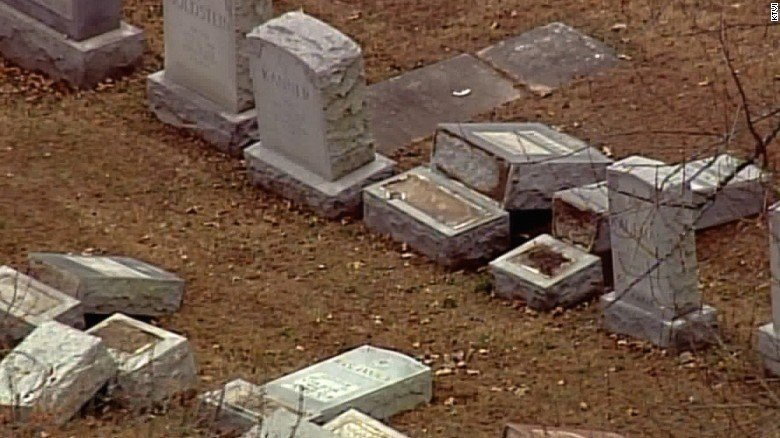 Police confirmed Monday that vandals toppled and damaged about 100 headstones at the Chesed Shel Emeth Society cemetery in St. Louis.