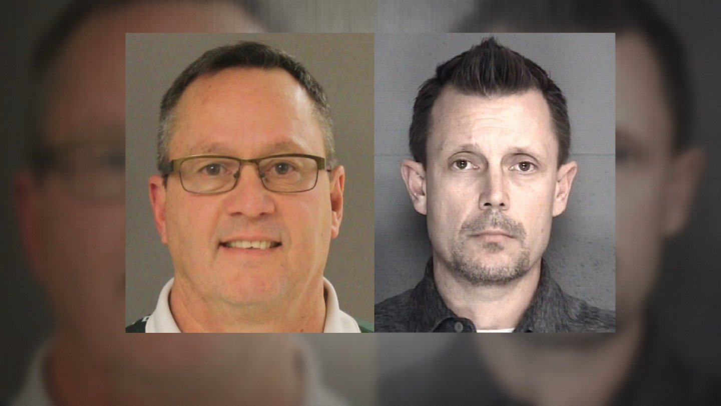 Investigators arrested Chris Kleidosty and Tim Weis, left, on charges of failure to report abuse and neglect. (Linn County Sheriff's Office, Leavenworth County Sheriff's Office)