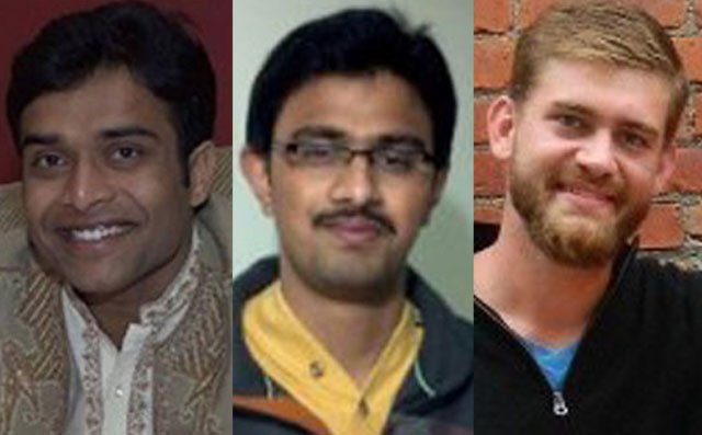 One of the victims, Srinivas Kuchibhotla, middle, died at a hospital. The conditions of surviving victims Alok Madasani, left, and Ian Grillot weren't immediately known. (Times of India, GoFundMe)