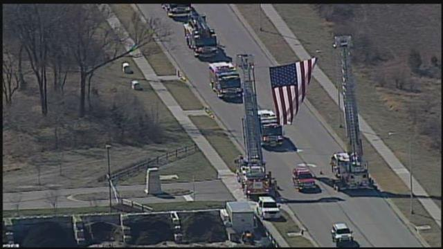 The funeral procession on Feb. 25. (KCTV)