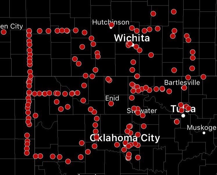 You can see storm spotters have worked together to form a tribute to Bill Paxton in the plains. (Credit: Jason Nicholas/WOIO)