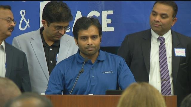Alok Madasani spoke at the vigil on Sunday. (KCTV)