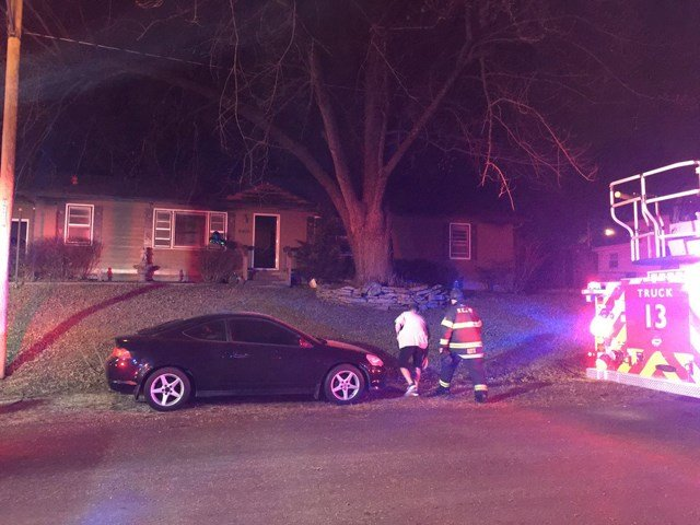 Four adults and a child were inside the house when it caught fire. (KCTV5)