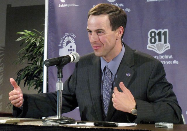 FILE - In this June 16, 2010, file photo, Kansas State athletic director John Currie answers reporters' questions about the future of the Big 12 in Manhattan, KS, (AP)