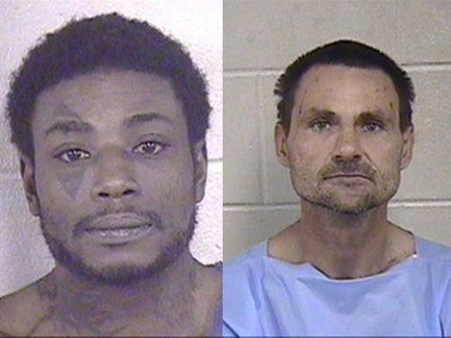 Scott Roberts, 47, left, and Timothy Younce, 42, each faces first-degree burglary, second-degree burglary, stealing and resisting arrest charges. (KCPD)