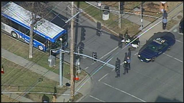Police were called to the intersection about 3:30 p.m. Wednesday.An argument started on a city bus and spilled out onto the sidewalk. (KCTV5)