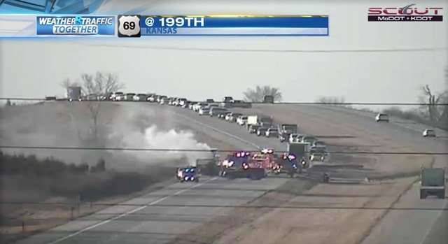 Kansas Highway Patrol says the fire spread from the semi and onto grass in the area. (KCTV5)