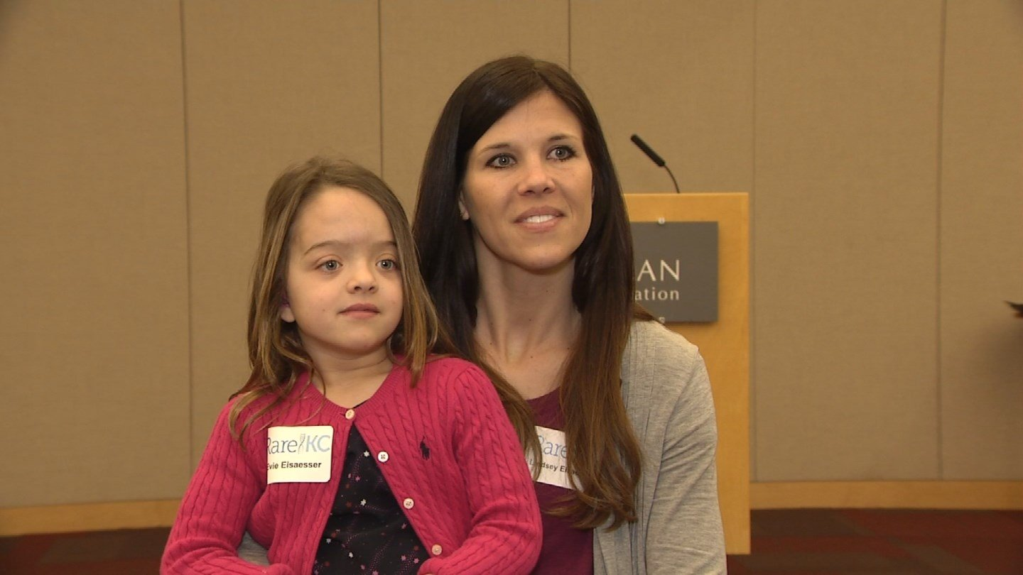 """We're from Omaha, NE so we drove down three hours last night,"" said Lindsey Elsaesser, another attendee.  Evie Elsaesser is 7 years old, and she was diagnosed with a disease that makes her bones softer than other kids called hypophosphatasia. (KCTV5)"
