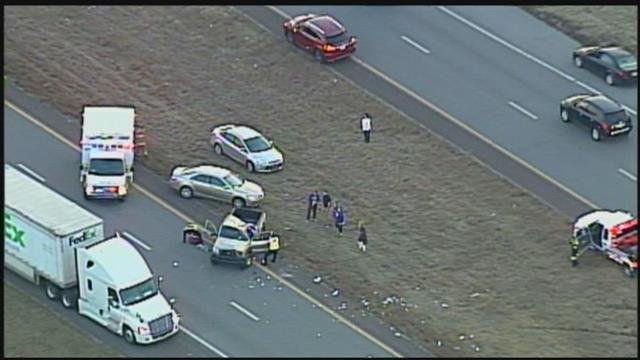 The scene of the crash as seen from Chopper 5. (KCTV)