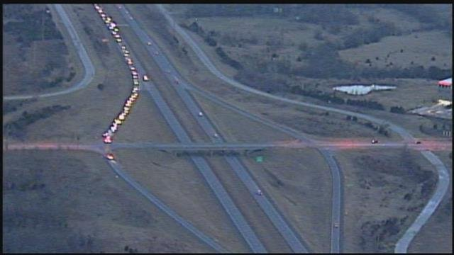 The traffic backup that happened after the highway was closed. (KCTV)