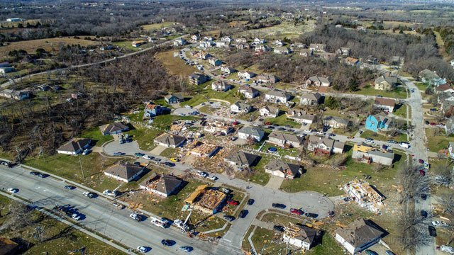 Emergency officials in Oak Grovesay nearly 500 homes and businesses sustained some damage aftertornadoesand severe storms raked the area. (Jeff Roberts/KCTV5 News)