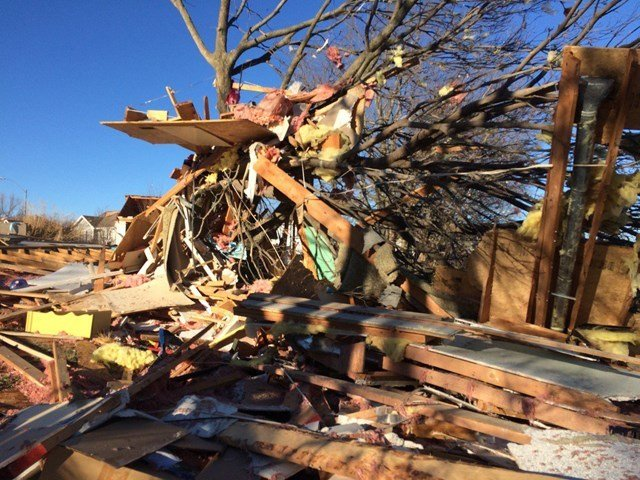The police chief in Smithville says between 60 and 70 houses were damaged when strong storms swept through the town, with some completely destroyed. (Natalie Davis/KCTV5 News)