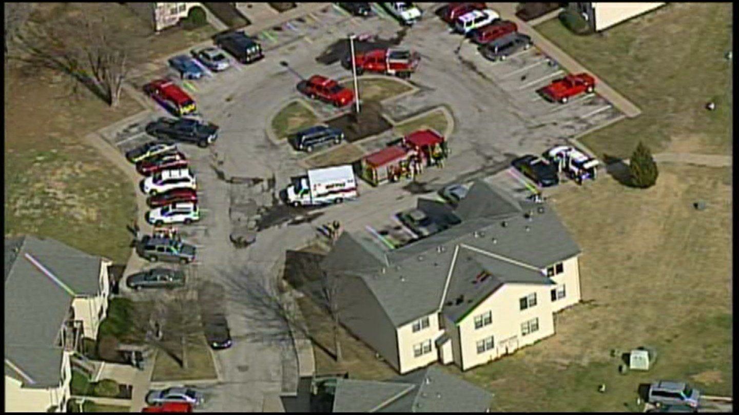 The fire happened at about 11 a.m. at the Sandstone Apartment Complex at 501 S. 4th St.  (KCTV5)