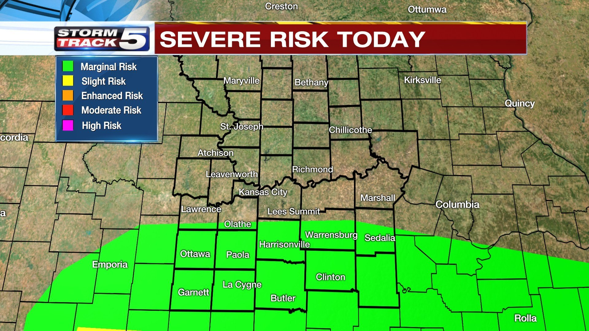 StormTrack5 MeteorologistLisa Teachman says these storms will develop south of Interstate 70, generally along and south of a Paola to Harrisonville to Clinton line. (KCTV5)
