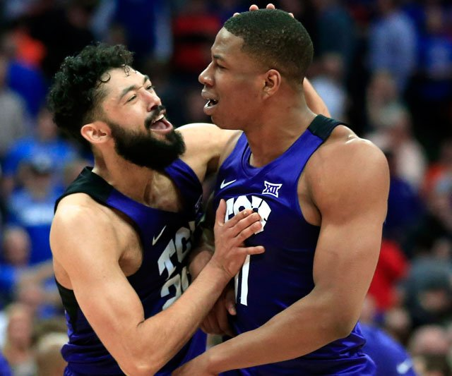 Desmond Bane had 16 points, hitting three free throws with 2.5 seconds left, to help TCU stun top-ranked Kansas 85-82 in the Big 12 quarterfinals Thursday. (AP)