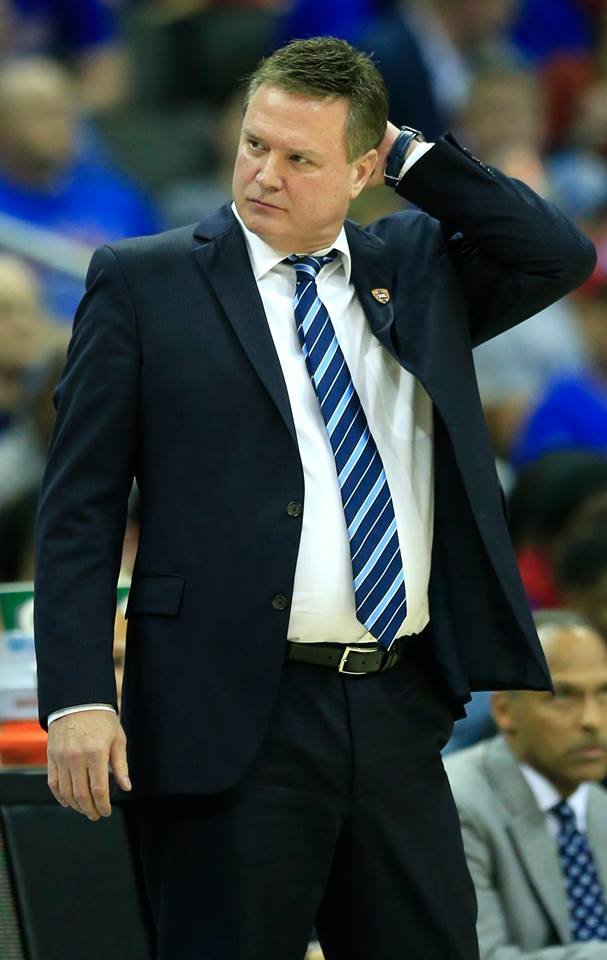 Kansas head coach Bill Self scratches his head during second half of an NCAA college basketball game against TCU in the quarterfinal round of the Big 12 tournament in Kansas City, Mo., Thursday, March 9, 2017. TCU defeated Kansas 85-82. (AP)
