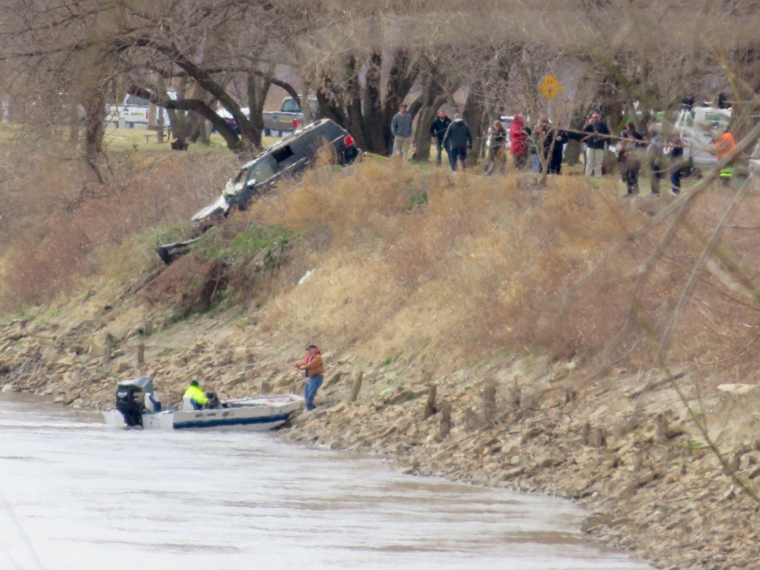 """The SUV pulled from the water is """"not believed to be related any KCPD investigation,"""" police said. (KCTV)"""