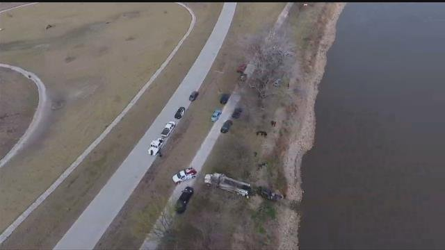 Drone5's view of the scene at the park along the Missouri River. (KCTV)