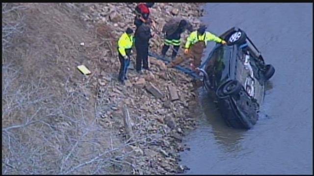 This is the second car that was pulled from the river on Friday. (KCTV)