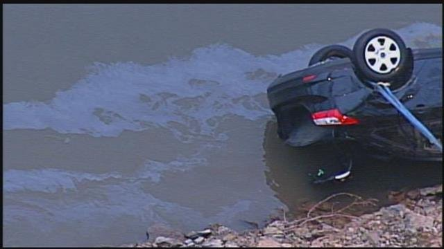A look at the rear end of the black car that was pulled from the Missouri river later in the day on Friday. (KCTV)