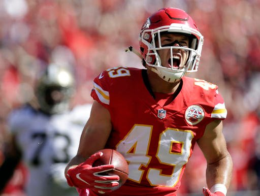 Kansas City Chiefs defensive back Daniel Sorensen (49) celebrates his touchdown following an interception of a throw by New Orleans Saints quarterback Drew Brees in Kansas City, Mo., Sunday, Oct. 23, 2016. (AP Photo/Colin E. Braley)
