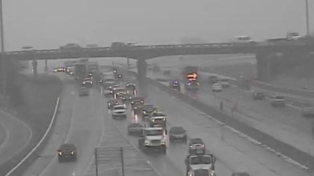 Traffic was backed up in Overland Park for several hours Tuesday after a crash on the U.S. Hwy. 69 bridge over I-35. (KCScout)