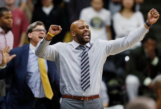 California head coach Cuonzo Martin driest his team against Colorado in the second half of an NCAA basketball game, Saturday, March 4, 2017, in Boulder, Colo. Colorado won 54-46. (AP Photo/David Zalubowski)