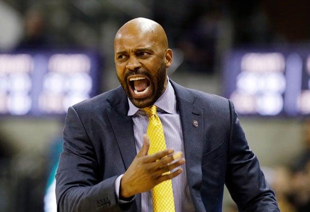 California head coach Cuonzo Martin yells during the second half of an NCAA college basketball game against Washington Thursday, Feb. 18, 2016, in Seattle. California won 78-75. (AP Photo/Elaine Thompson)