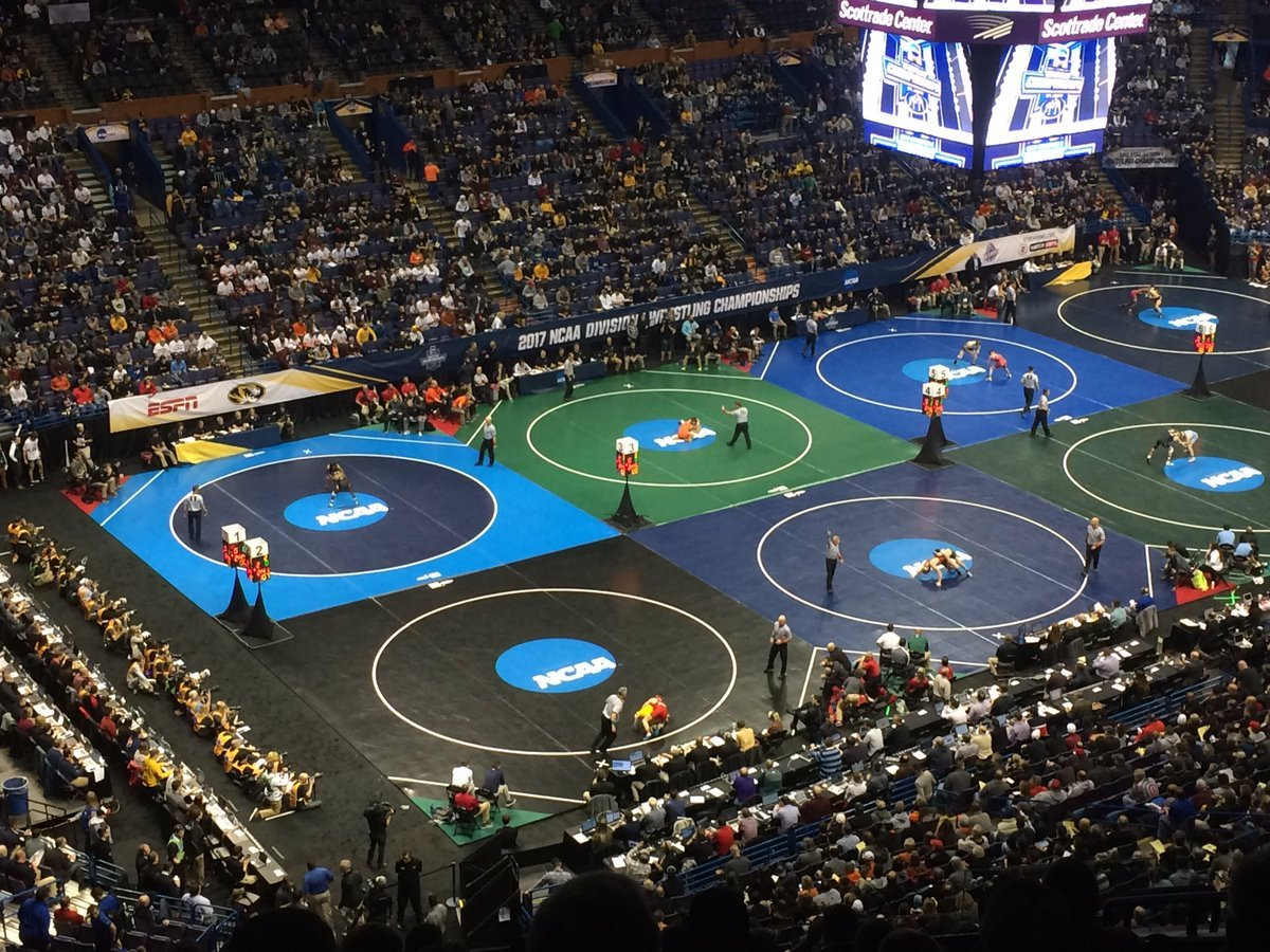 Penn State, looking to win its sixth national championship in seven years, took an early lead after two rounds of the NCAA Wrestling Championships on Thursday. (Daniel Barnett/KCTV5 News)