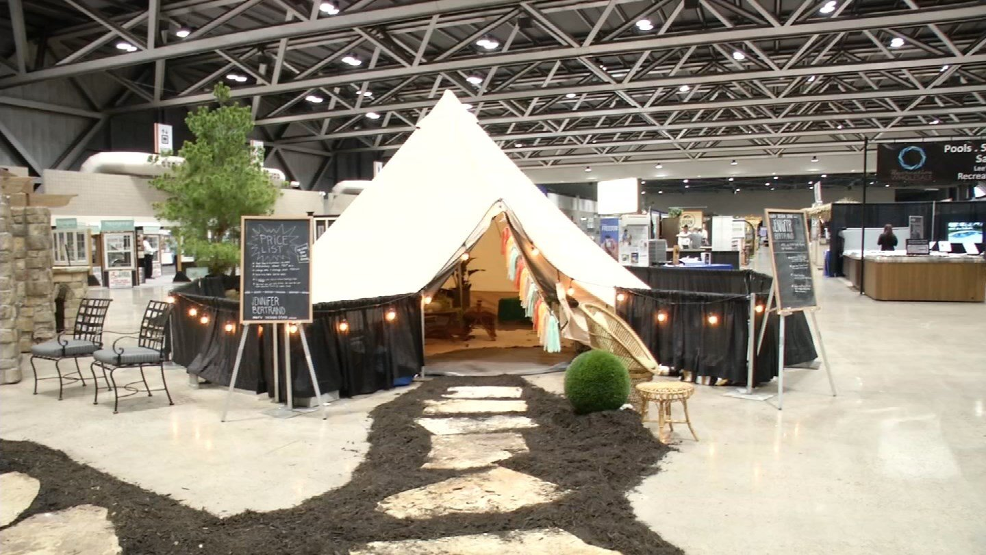 "KC native Jennifer Bertrand showed off her ""glamping"" tent design at the show. (KCTV)"