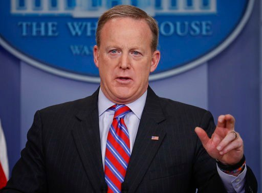 White House Press secretary Sean Spicer speaks to the media during the daily briefing in the Brady Press Briefing Room of the White House in Washington, Tuesday, March 14, 2017. (AP Photo/Pablo Martinez Monsivais)