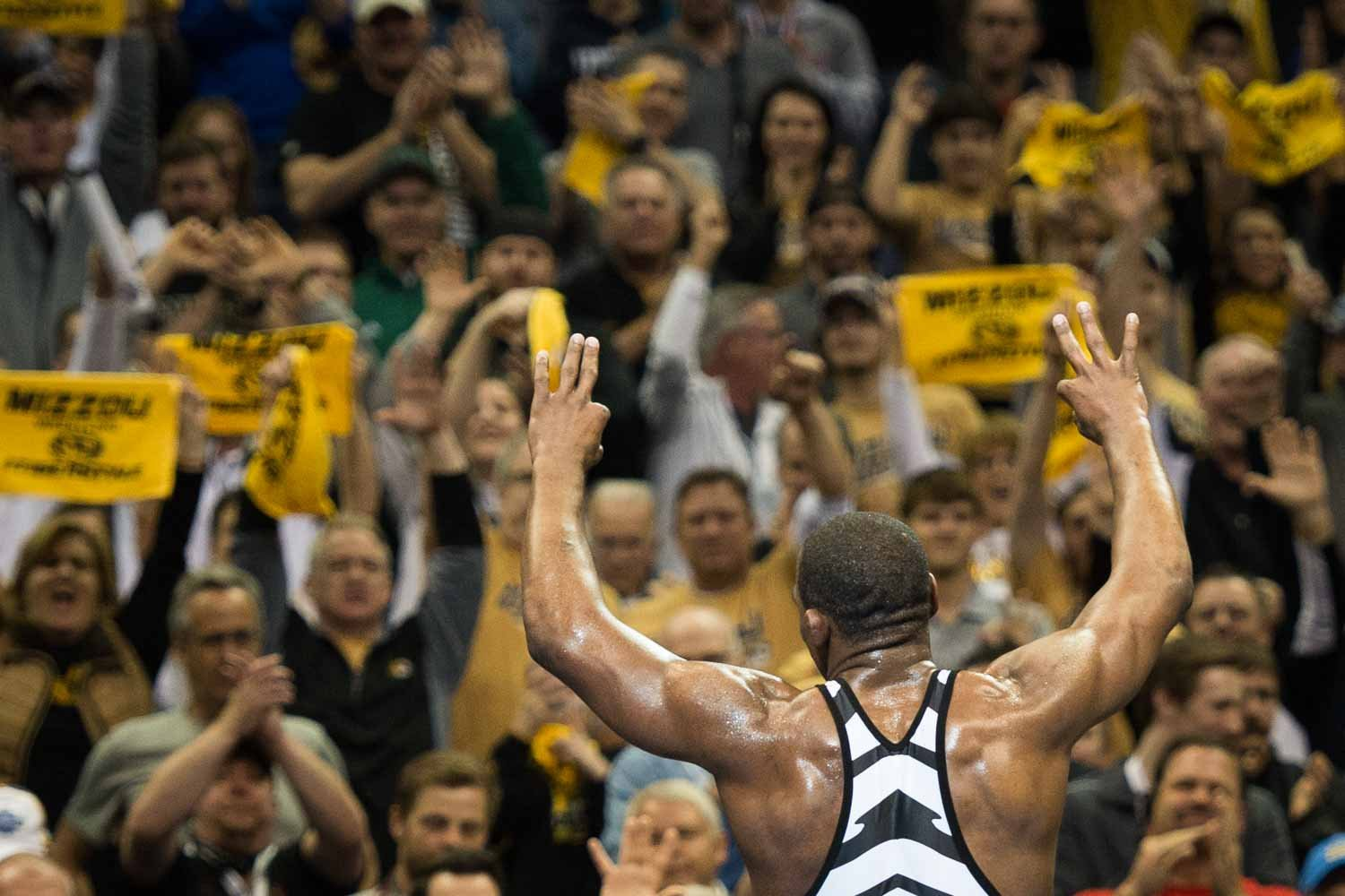 During his pursuit of title number three, J'Den Cox outscored opponents 28-6, not counting his first round pin. (Missouri Wrestling Facebook)