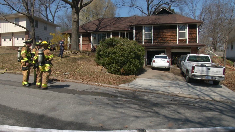 The fire happened around 1 p.m. on Sunday. (Natalie Davis/KCTV)