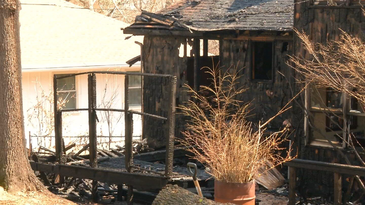 The damage to the house was more apparent from the back of it. (Natalie Davis/KCTV)