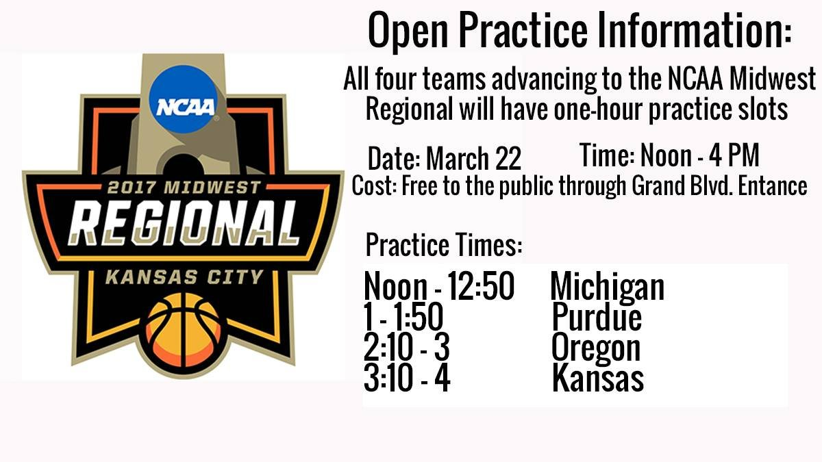 The NCAA is holding a free open practice session Wednesday at Sprint Center leading up the Midwest Regional matchups.  (Sprint Center)