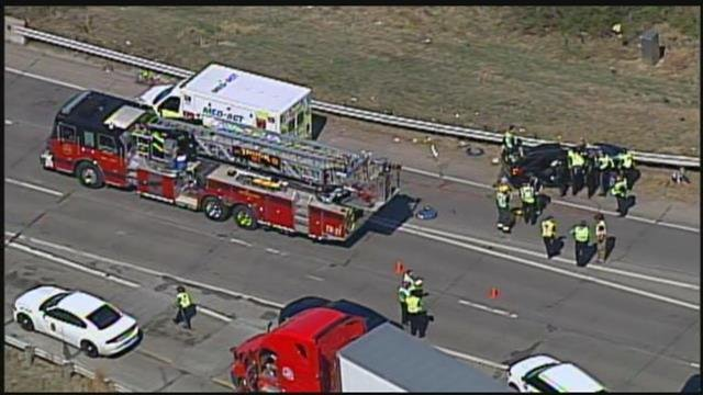 The wreck happened around 2:20 p.m. in Johnson County. (Chopper5)